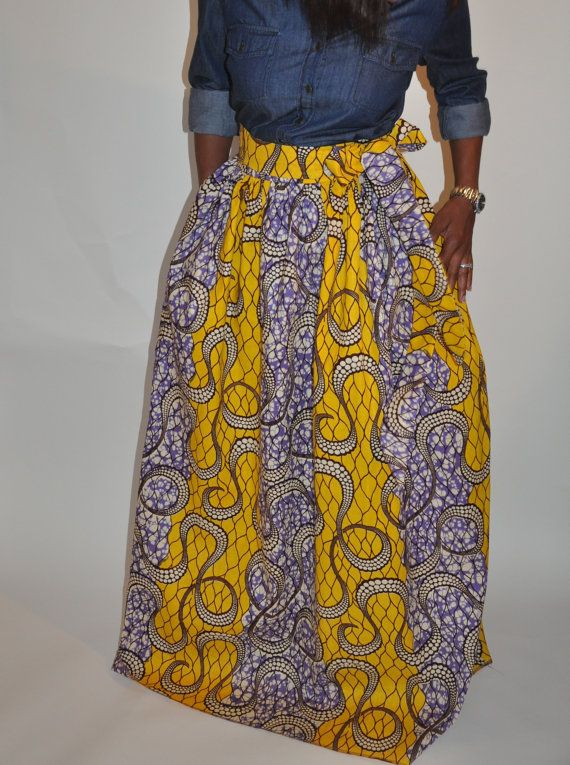 The Aleshia Maxi African Print Maxi Skirt by ChenBCollection, $129.00
