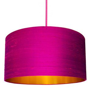 Indian Silk Dupion Lampshade In Hot Pink - living room