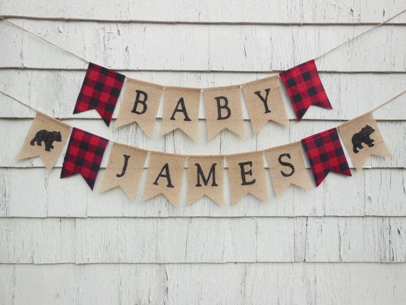 Lumberjack Baby Shower Lumberjack Shower Decor Custom Name