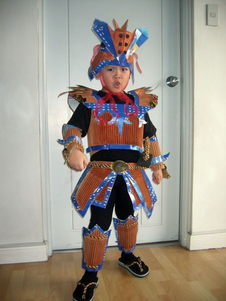 Samurai Costume for kids with recycled materials.