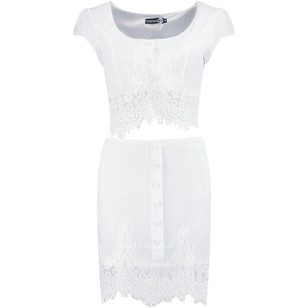 Boohoo Hollie Scallop Border Lace Top & Mini Skirt Co-Ord | Boohoo ($18) ❤ liked on Polyvore featuring skirts, mini skirts, short white skirt, white skirt, patterned skirts, lace mini skirt and white skort