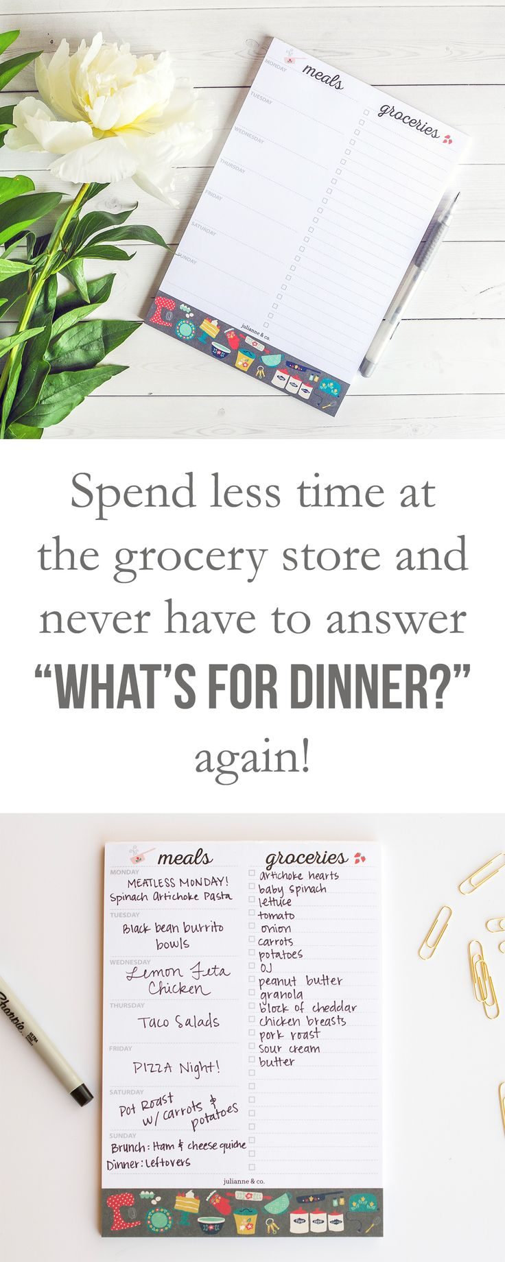 """Spend less time grocery shopping and never have to answer """"What's for dinner?"""" again with the meal planner notepad and magnetic grocery list from Julianne and Co."""