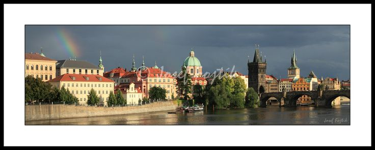 Framed fine art print - Ales's Embankment, Monastery of the Knights of the Cross with a Red Star and Charles Bridge on the Vltava River, Prague, Czech Republic. Photo: Josef Fojtik - www.joseffojtik.com - https://www.facebook.com/Fineartphotoprints