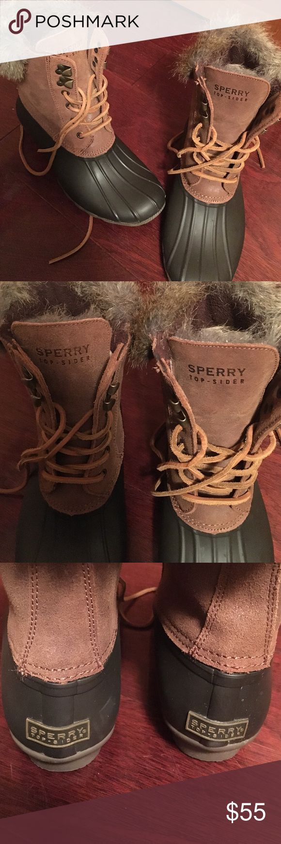 Brown sperry winter boots with fur Sperry two toned boots with fur they are a very comfortable and warm shoe for the winter Sperry Top-Sider Shoes Winter & Rain Boots