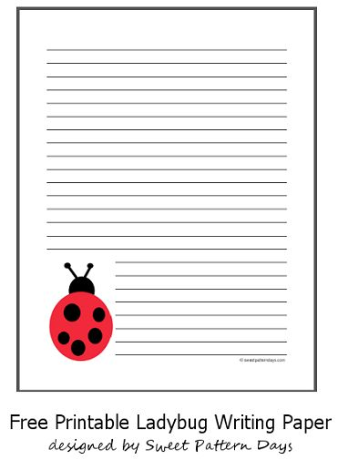 cute free ladybug lined paper
