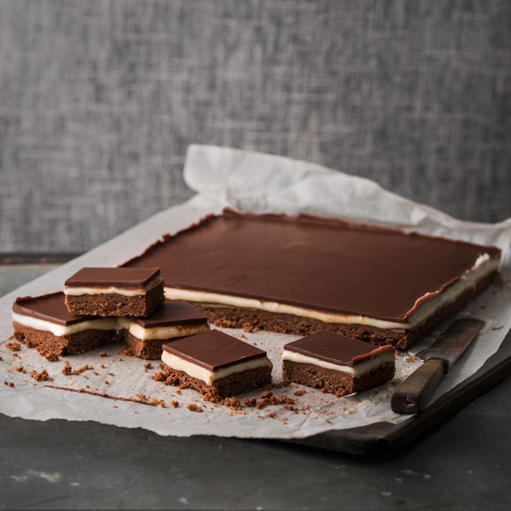 Decadent Chocolate & Peppermint slice made with Haigh's Dark Peppermint Chocolate Pastilles.