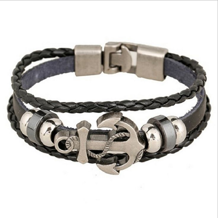 New Handmade Retro Leather Woven Anchor Charm Bracelet Men Vintage Braided  Bracelets Bangles Male Jewelry
