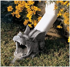 "10 5"" Outdoor Home Decor Medieval Gothic Wide Mouth Gargoyle Gutter Downspout 