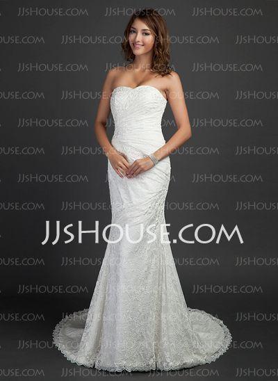 Wedding Dresses - $198.99 - Mermaid Sweetheart Court Train Satin Lace Wedding Dress With Ruffle (002000460) http://jjshouse.com/Mermaid-Sweetheart-Court-Train-Satin-Lace-Wedding-Dress-With-Ruffle-002000460-g460