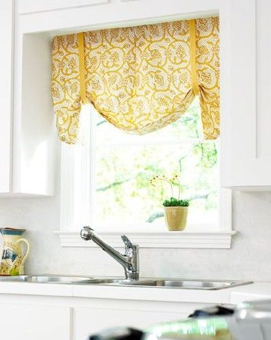 love this kitchen window curtain idea for kitchen curtains over sink- style...