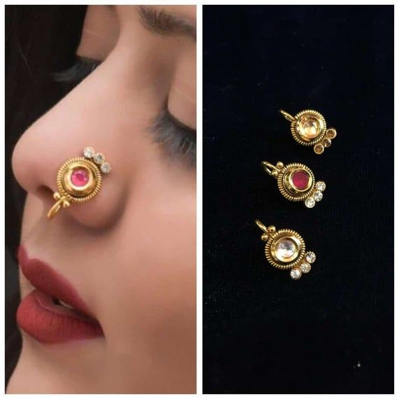 3 Piece Combo Gold Plated Nose Ring Women S Body Jewellery Body