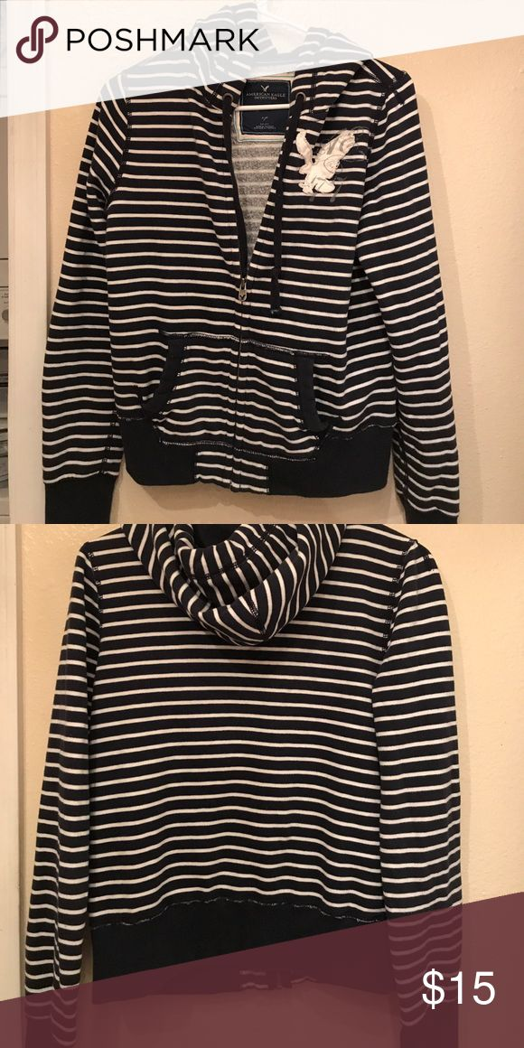 American Eagle Outfitters zip up hoodie Gently used. Size s/p (small/petite). Navy striped jacket American Eagle Outfitters Jackets & Coats