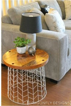 Love this idea for end tables...maybe a wire garbage can and our cut pieces of wood