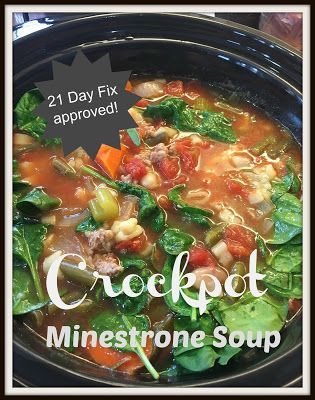 Crockpot Minestrone Soup ~ 21 Day Fix Approved!
