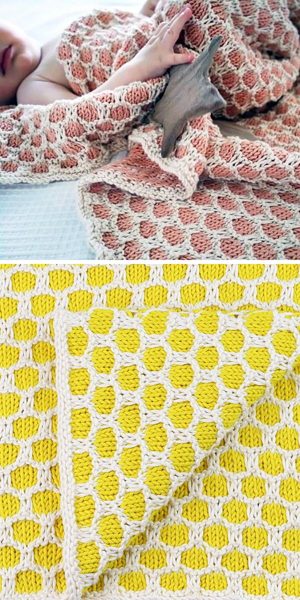 Bee Baby Blanket Knitting Kit From We Are Knitters Easy 2 Color Slip Stitch Honeycomb Pattern Makes A Gre Blanket Knitting Kit Knitting Kits Bee Baby Blanket