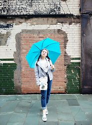 Esther Mok - Ted Baker Grey Blue Leather Jacket, H&M Duh Sweater, Skinnydip London Lucky Cat Crossbody Bag, Topshop Mom Jeans, Venilla Suite Silver Shoes, Aldo Grey Beanie, Crabtree&Evelyn Blue Umbrella - Rainy Day Blues