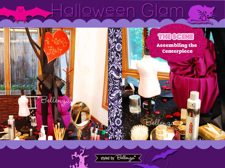 How to Plan a Halloween Makeover Party for a Girl's Night In! See the full styled shoot: http://www.bellenza.com/party-ideas/party-crafts/halloween-glam-makeover-party-girls-night
