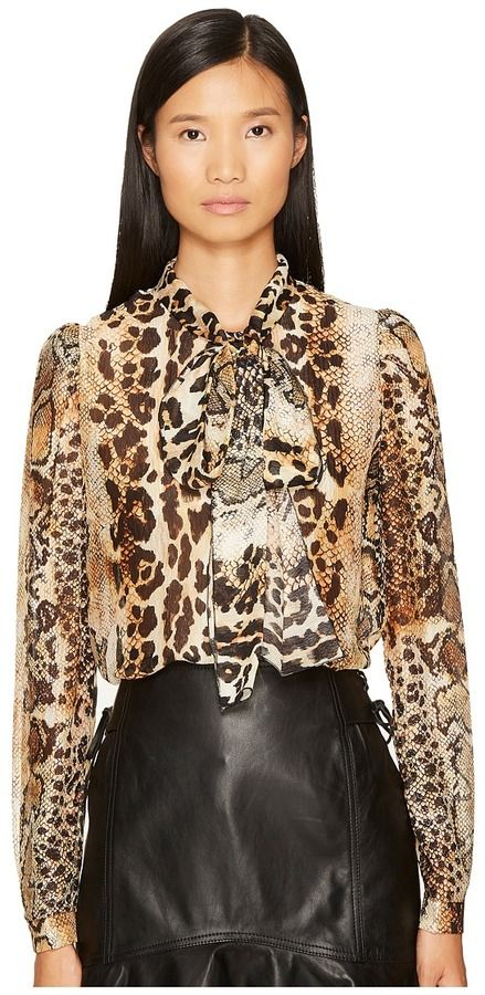 Just Cavalli Long Sleeve Mixed Animal Print Top Women's Clothing