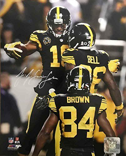6a27fc8be2b PITTSBURGH STEELERS~JuJu Smith-Schuster Signed Celebration with Bell and  Brown in Color Rush 8x10 Photo by Total Sports Enterprises