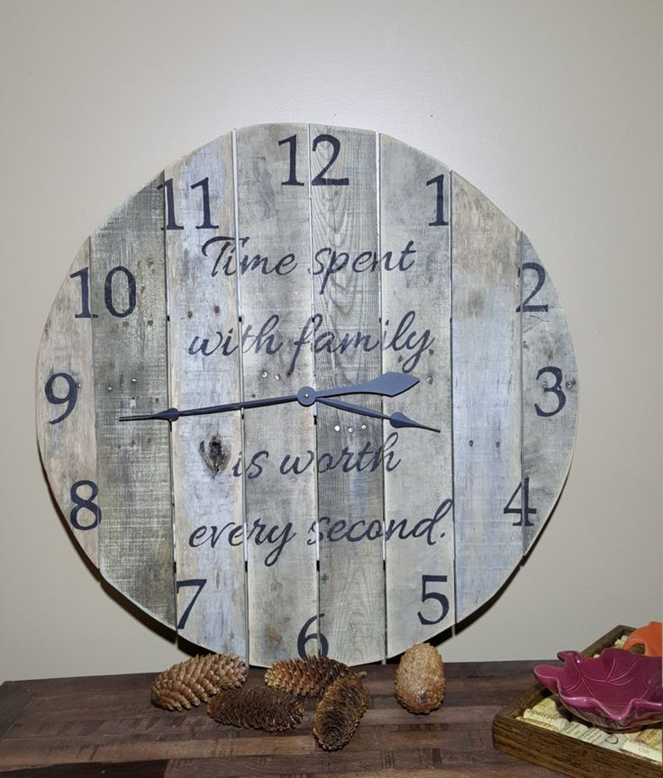 "Natural rustic pallet wood wall clock 29"" round. Time spent with family is worth every second by DenimnHeels on Etsy"