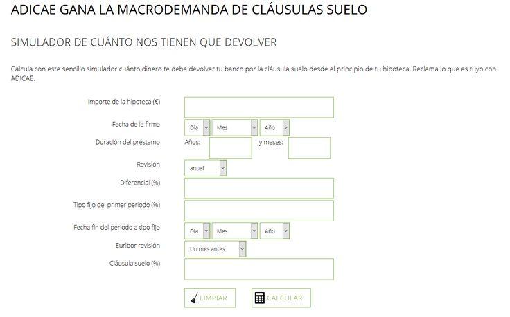 https://www.facebook.com/ADAS.AdministracionDeFincas/posts/1782421471970028 ADICAE CREA UN SIMULADOR ONLINE PARA CALCULAR EL PERJUICIO DE LA CLÁUSULA SUELO DESDE LA FIRMA DE LA HIPOTECA.  ADAS ADMINISTRACIÓN facebook.com/ADAS.AdministracionDeFincas Av. Innovación nº 5, Ed. Espacio, módulo 205, Sevilla Tfno.: 954 252 480 adasadministracion.com  Promocionado por Globalum. Marketing en Redes Sociales facebook.com/globalumspain