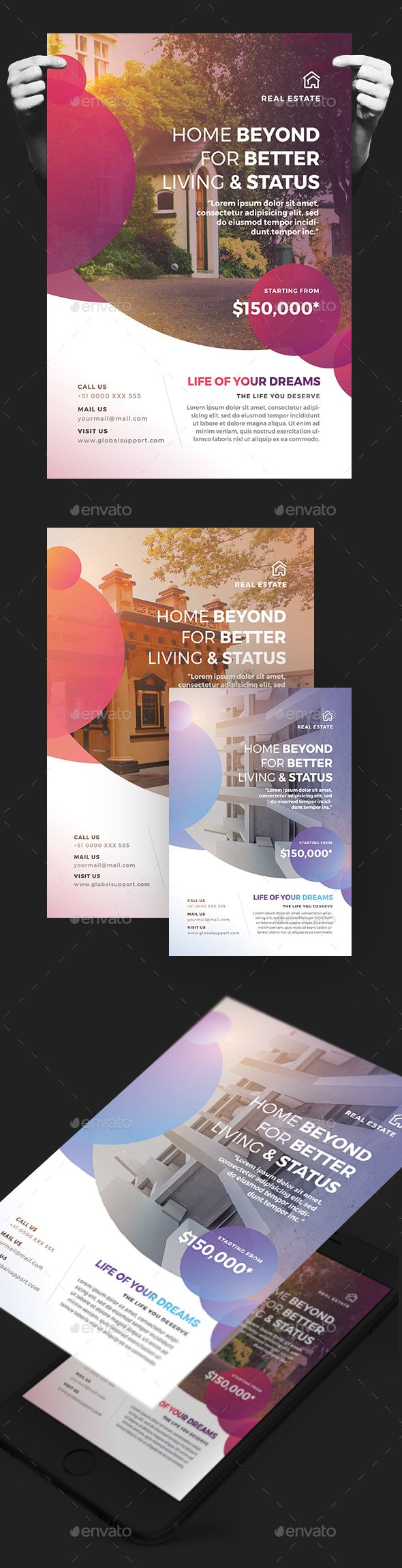 Creative Colorful Real Estate Flyer — Photoshop PSD #magazine ad #realtor • Download ➝ https://graphicriver.net/item/creative-colorful-real-estate-flyer/20080258?ref=pxcr