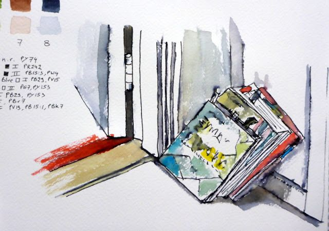 MHBD's Blog: 006 - Draw a stack of books - watercolour