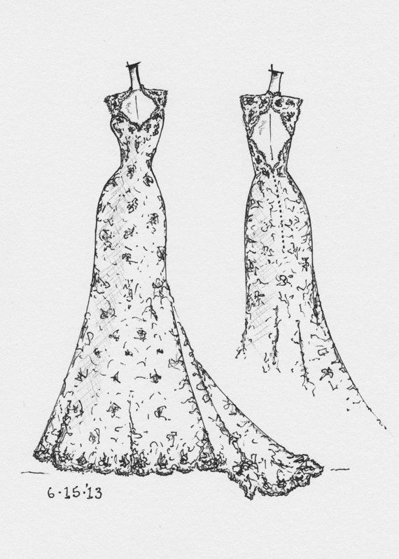 FRONT and BACK dress sketch of YOUR special dress by dresssketch