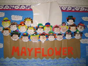 This is fun idea for a Thanksgiving bulletin board display.  Create a large Mayflower boat and have each of your students design a pilgrim's face to sail on the Mayflower.