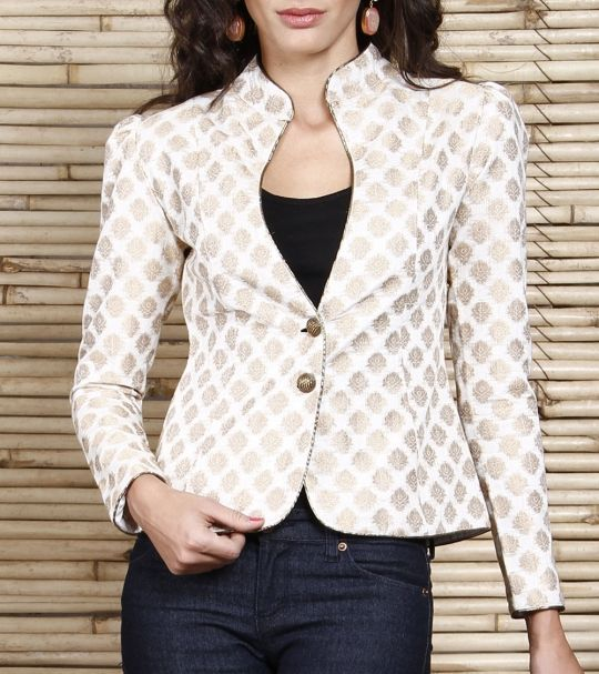 White silk chanderi jacket online shopping India | IndianRoots | Sweet Couch