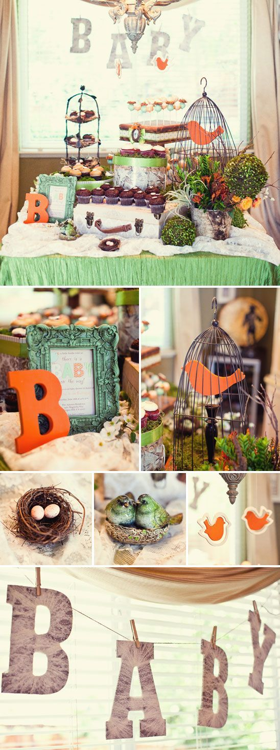Vintage bird themed baby shower- LAILA- I love the orange letter.  And also, we need a bird cage asap.  I think I can borrow one.