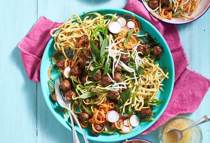 This wok star uses both the coriander root and stem in the sauce, adding terrific Thai-style flavour. The meatballs are just sausages, so are super quick to make.