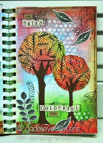 Autumn Impressions Art Journal Page by Godelieve Tijskens using Darkroom Door Fallen Leaves Background Stamp. http://www.darkroomdoor.com/background-stamps/background-stamp-fallen-leaves
