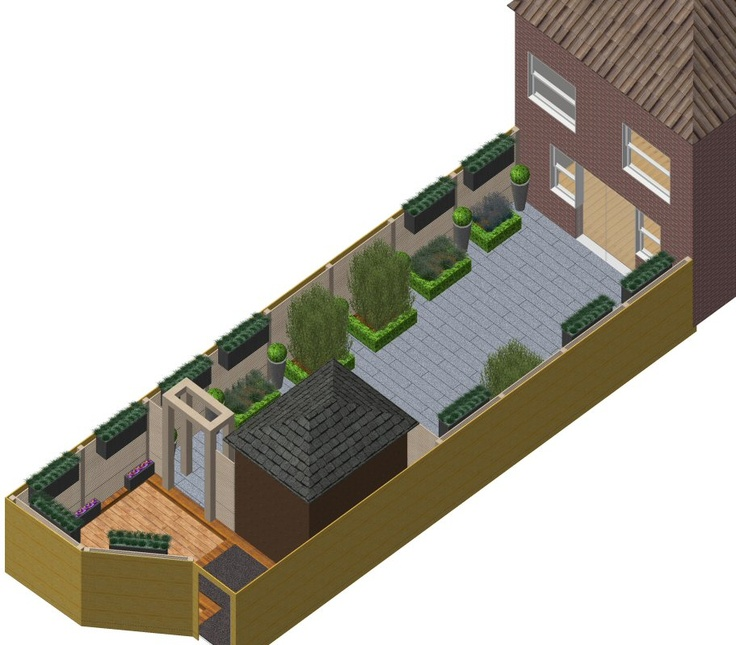 3 d cad model of garden design plan for small courtyard garden in ashford