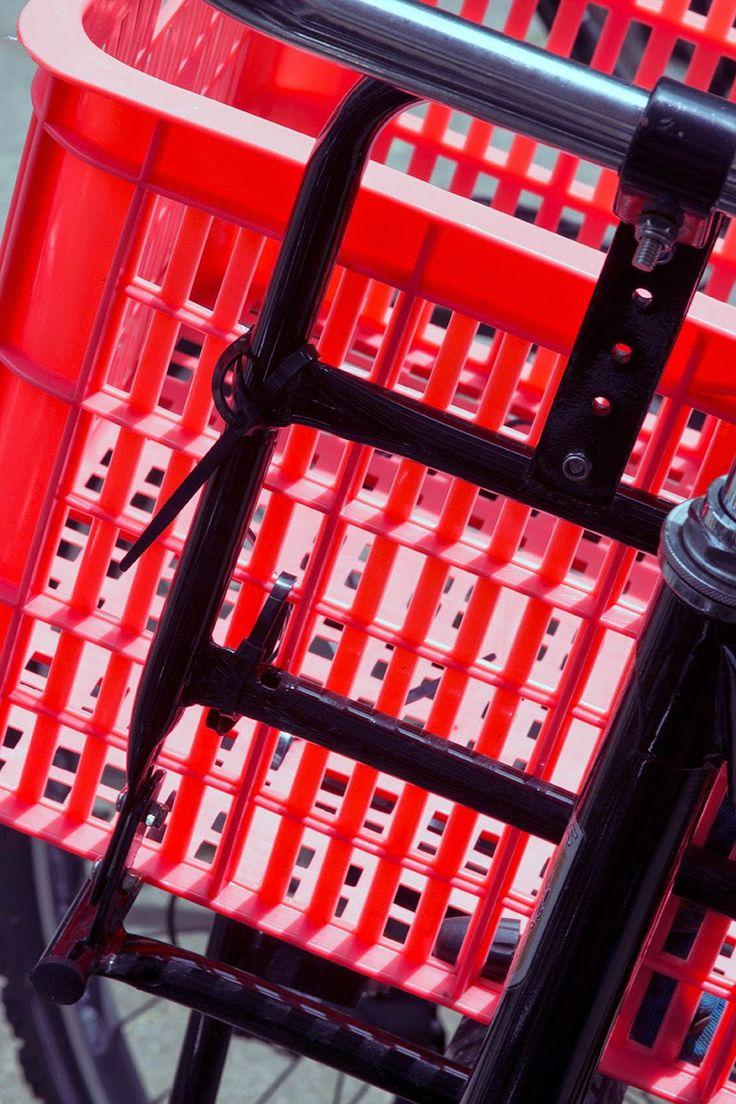 red bicycle basket