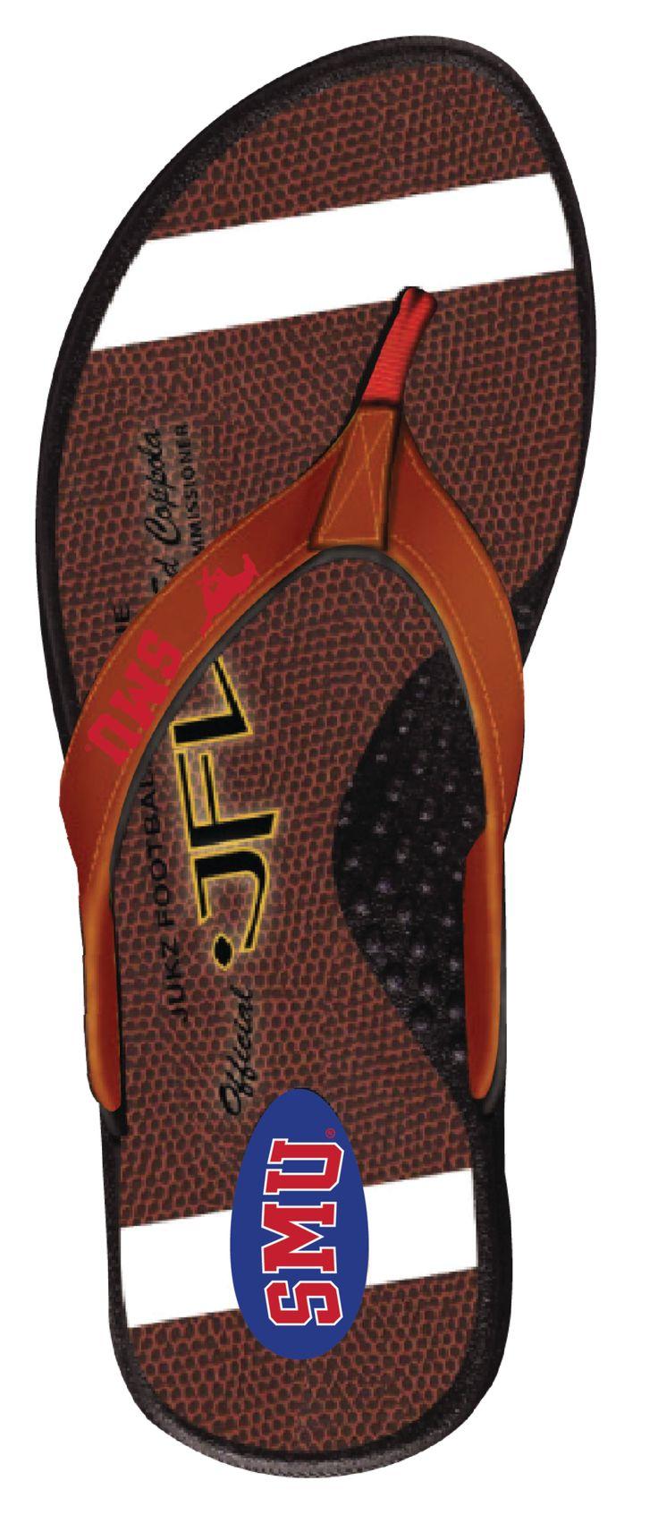 SMU Mustangs Football Flip Flops