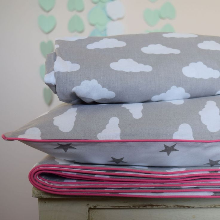100%COTTON Cot Bed Duvet Cover Set Girls Grey Stars Clouds pink piping in Baby, Nursery Bedding, Nursery Bedding Sets | eBay