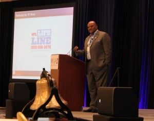 Dwight Hollier, a licensed professional counselor and the NFL's director of transition and clinical services, speaks at Mental Health America's annual conference this month in Alexandria, Virginia. Photo by B. Bray/Counseling Today