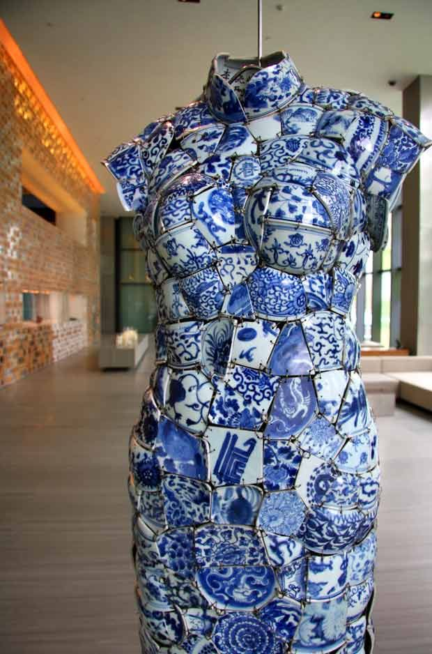 Sculptural art: Chinese dress made of pieces of traditional ceramic.