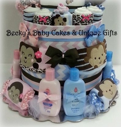 Twin diaper cake boy girl twin baby twin by for Baby shower decoration ideas for twin boys