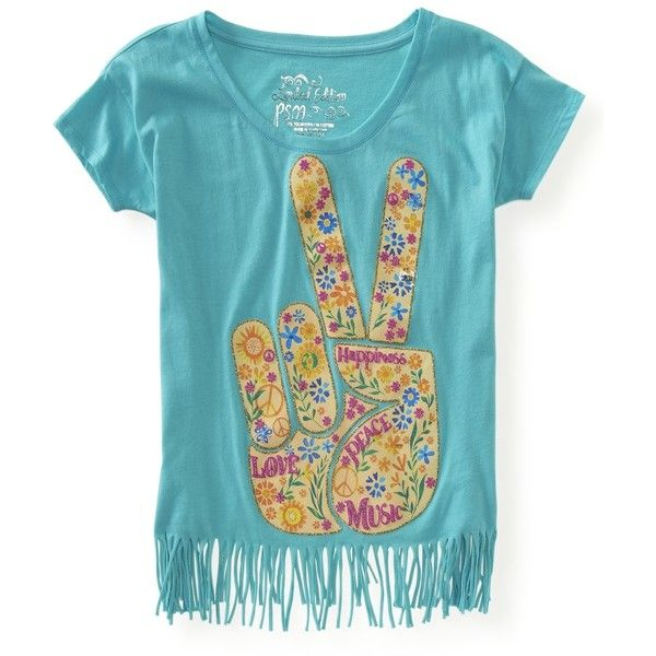 PS From Aeropostale Kids' Peace, Love & Music Boxy Fringe Tee ($15) ❤ liked on Polyvore