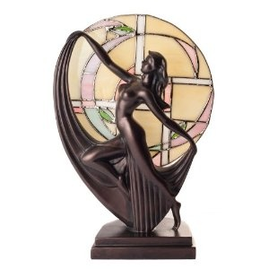 Art Deco Dancer Bronze Lady Figure Lamp Glass Tiffany