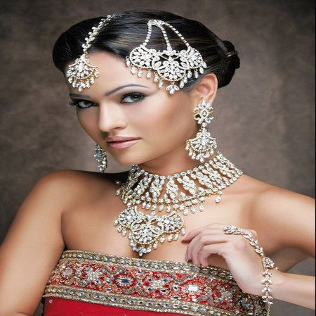 beauty - wedding dress, red, india, jewels