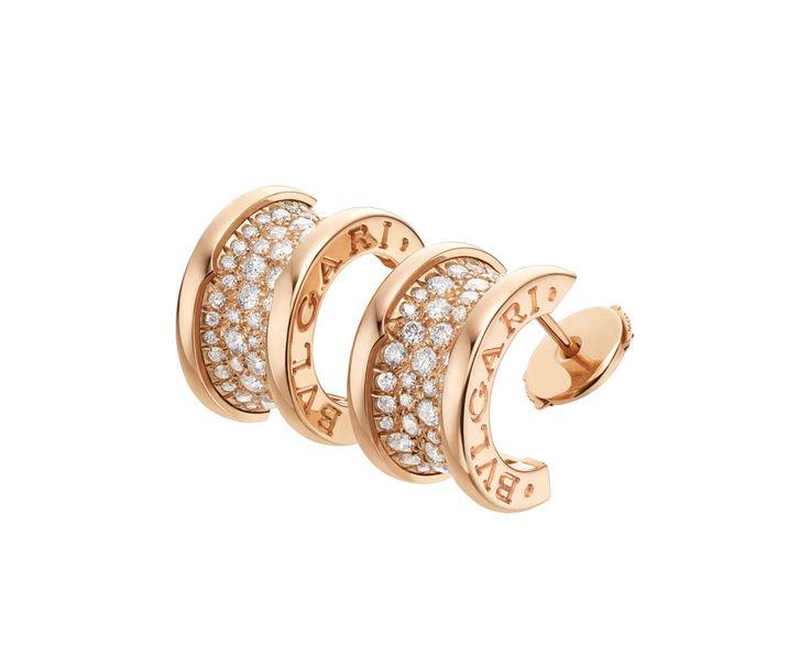 BZero1 Pink Gold Diamond Curved Earrings 347814