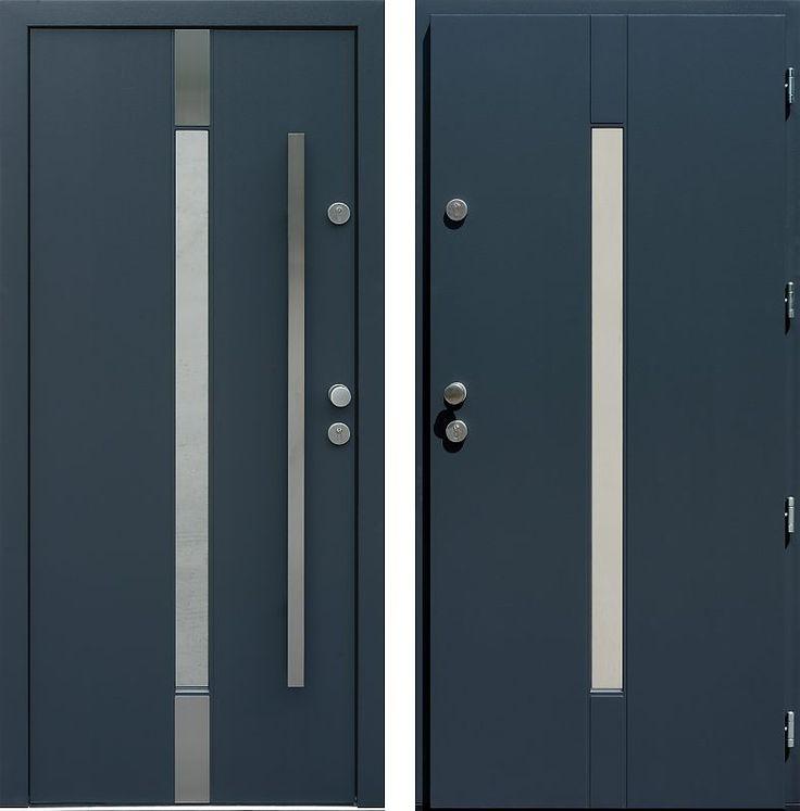 Drzwi wejściowe z aplikacjamii ze stali nierdzewnej inox wzór 464,2-464,12 antracyt