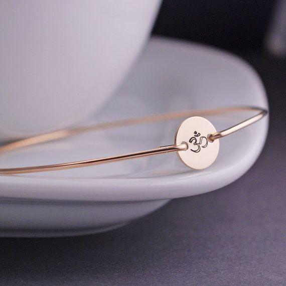 Gold Om Bracelet, Yoga Jewelry, Hand Stamped Om Jewelry, Gold Bangle Bracelet by georgiedesigns
