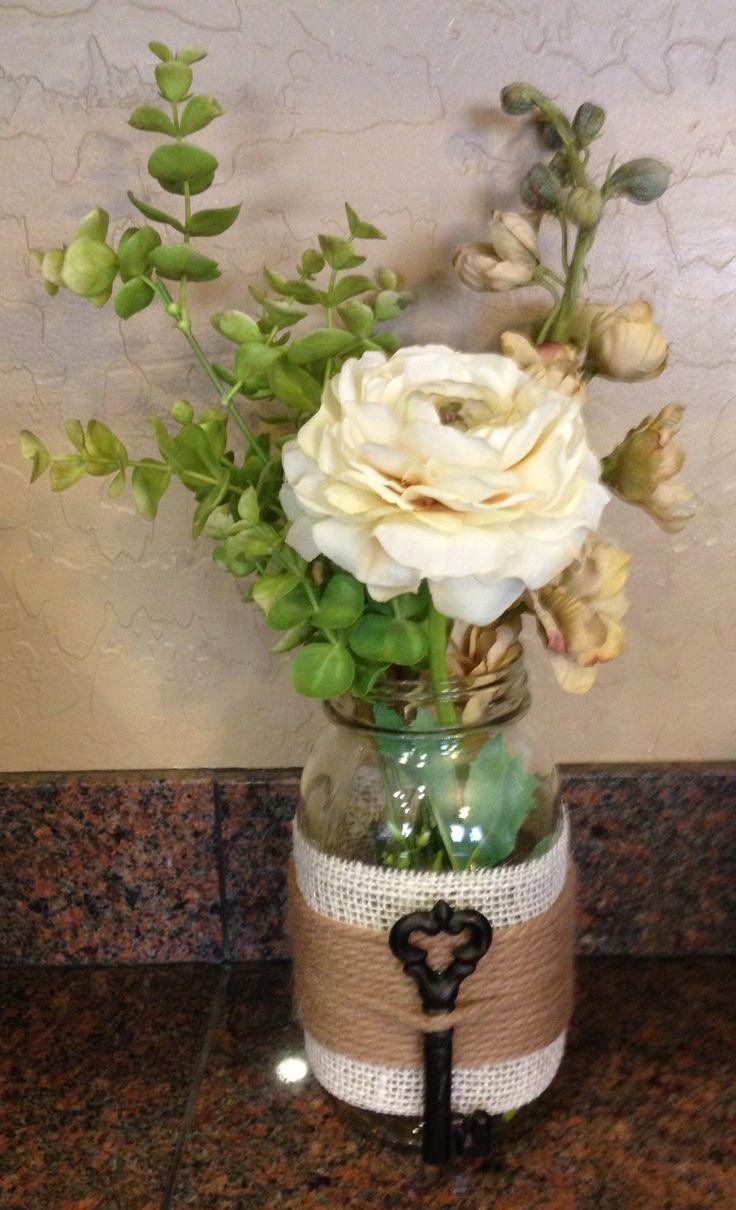 Embellished mason jar craft i made with floral arrangement for Crafts made with mason jars