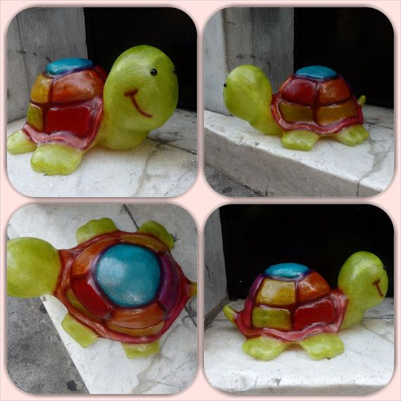 Multi-colour Turtle fiberglass lamp by GshopAthens on Etsy