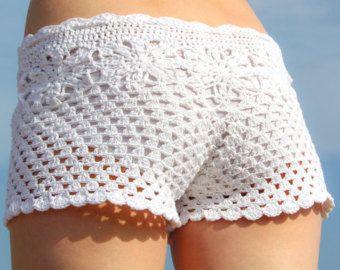 Mujeres playa patrón shorts crochet patrón por LecrochetArt en Etsy