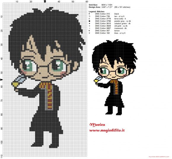 Harry Potter chibi patrón punto de cruz (click to view)                                                                                                                                                                                 Más